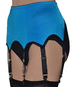 6 Strap Suspender Belt, Peacock Blue with Black Trims